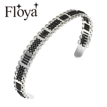 Floya Weave Geometry Stainless Steel Cuff Bangles Beautiful Knitted Black Strand Bracelets Femme BOHO Bracelet For Women Girls