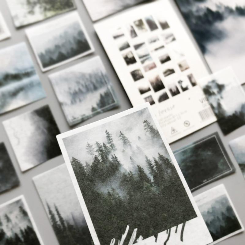 50Pcs/Pack Fog Forest Sticker Journal Decorative Sticker Label Diary Stationary Deco Photograph Album Sticker Flake Scrapbooking