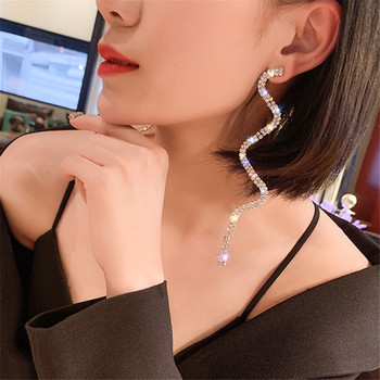 FYUAN Long Tassel Crystal Drop Earring for Women Shiny Gold Silver Color S Shape Rhinestone Dangle.jpg 350x350 - FYUAN Long Tassel Crystal Drop Earring for Women Shiny Gold Silver Color S Shape Rhinestone Dangle Earring Wedding Party Jewelry
