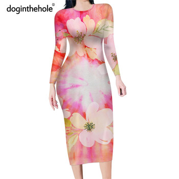 Doginthehole Women's Fashion Bodycon Pencil Dress Floral Print Long Sleeve Party Dresses Overknee Pink Color Sexy Slim Clothing sleeveless european women clothing fashion vintage 3d rose flower dress red pink sexy nightclub party slim mesh dresses mujer
