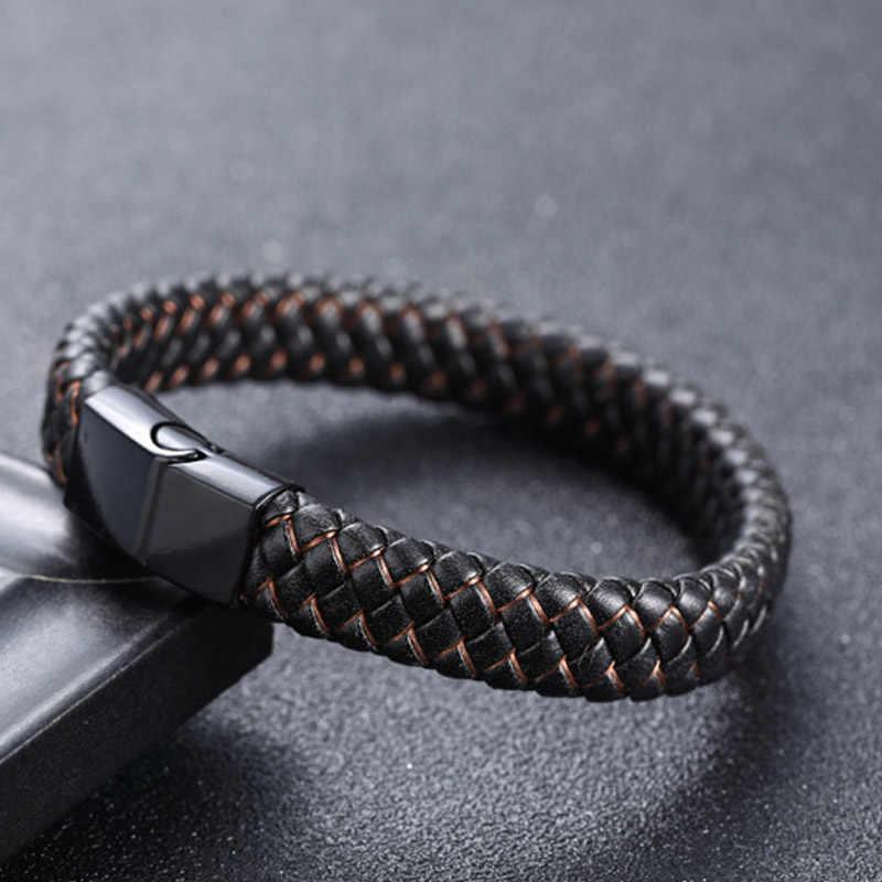 Punkowa biżuteria dla mężczyzn czarne/brązowe plecione skórzane bransoletki zapięcie magnetyczne ze stali nierdzewnej modne bransoletki bransoletki biżuteria męska