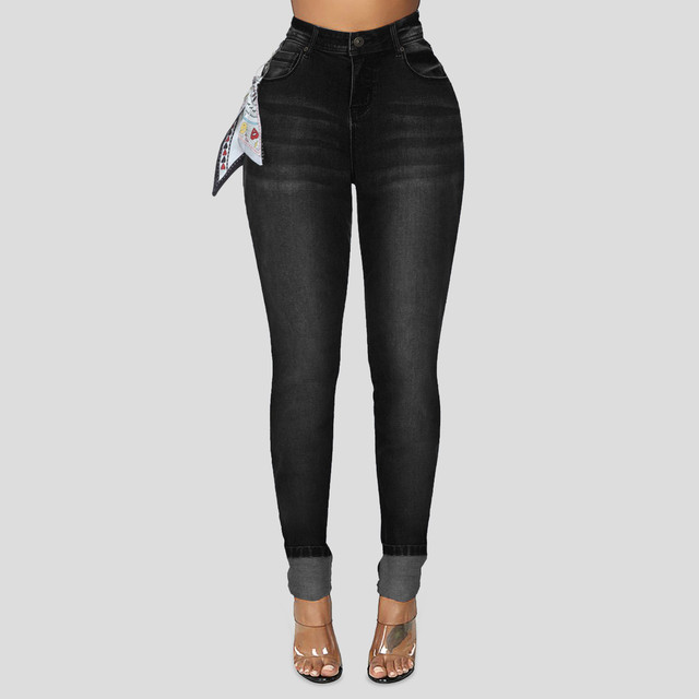 DAIGELO Women's Jeans Fashion Women High Waist Denim Pants With Silk Scarf Pocket Jeans Pencil Trouser Female Denim Jeans 2020 5