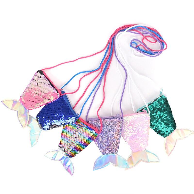 1PCS Girls Kids Children Card Zipper Holder Pouch Mermaid Tail Crossbody Bags Coin Purse Wallet