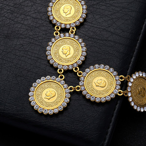 Image 4 - NEW Arabic Coin Crystal Muslim Islam Allah Necklace for Women Gold Color Arab/Africa Islamic Like Jewelry Make Money Gift Lucky