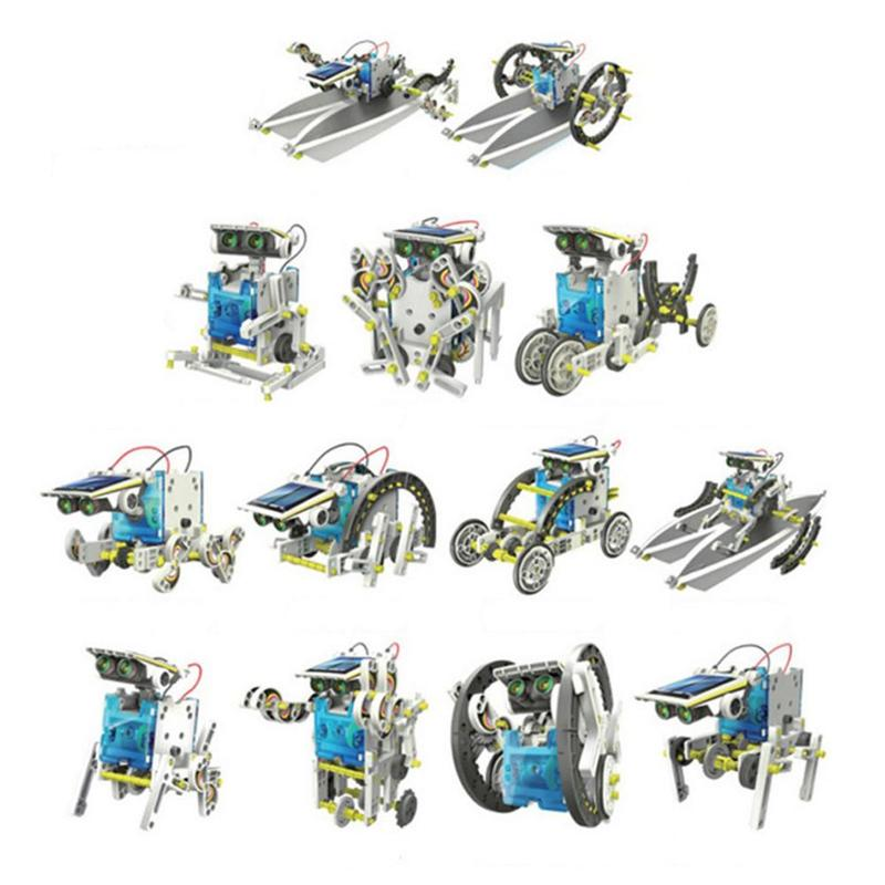 Solar Powered Robot Kits 13 In 1 DIY Kit Educational Robot DIY Toy Assembly Toy  Assembled Puzzle Toys Car Boat Blocks For Kids