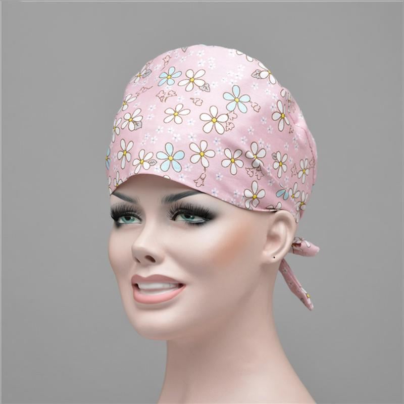 Printed Operating Room Strap Hat Cotton Doctor Nurse Cap Dust-proof Oil-proof Working Cap