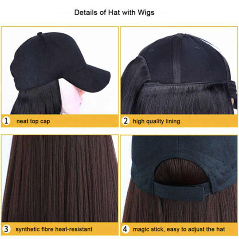Baseball Cap with Wigs Pixie Cut Bob Hair Synthetic Short Hair Hat for Women  OA66