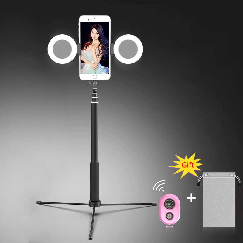 SAMTIAN Selfie Stick Monopod Bluetooth 1.7M Tripod Phone Stand With Two Fill Light For All Smartphone Photo photography YouTube