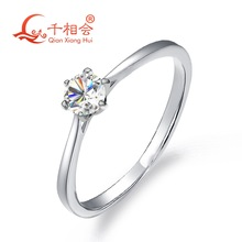925 sterling silver moissanite ring 4mm round DF color stone 6claws ring for wedding diamond ring