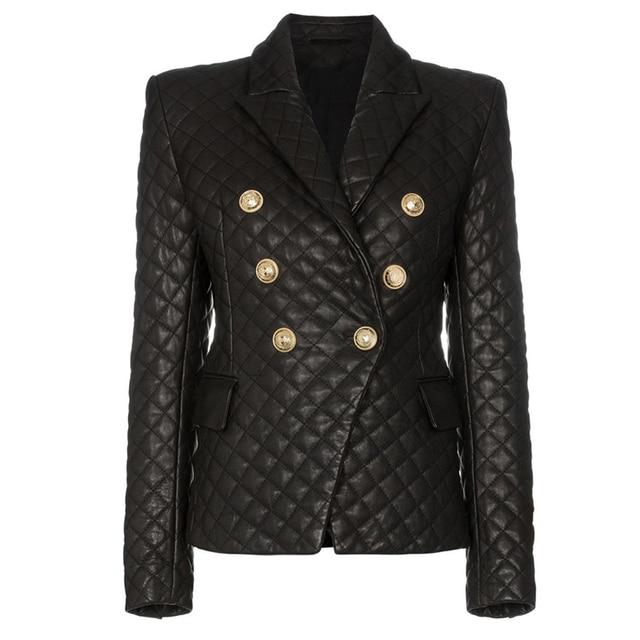 Chaqueta de cuero sintético ajustada con botones de León para mujer, chaqueta femenina de alta calidad, con relleno de algodón, 2020