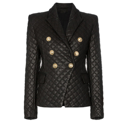 HIGH QUALITY 2019 New Stylish Designer Blazer Women's Lion Buttons Grid Cotton Padded Slim Fitting Synthetic Leather Jacket