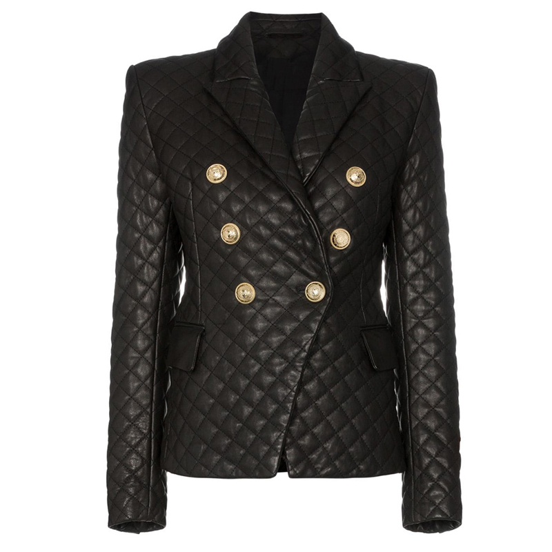 HIGH QUALITY 2020 New Stylish Designer Blazer Women's Lion Buttons Grid Cotton Padded Slim Fitting Synthetic Leather Jacket