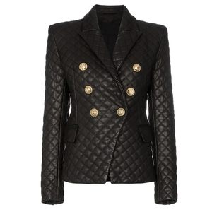 Image 1 - HIGH QUALITY 2020 New Stylish Designer Blazer Womens Lion Buttons Grid Cotton Padded Slim Fitting Synthetic Leather Jacket