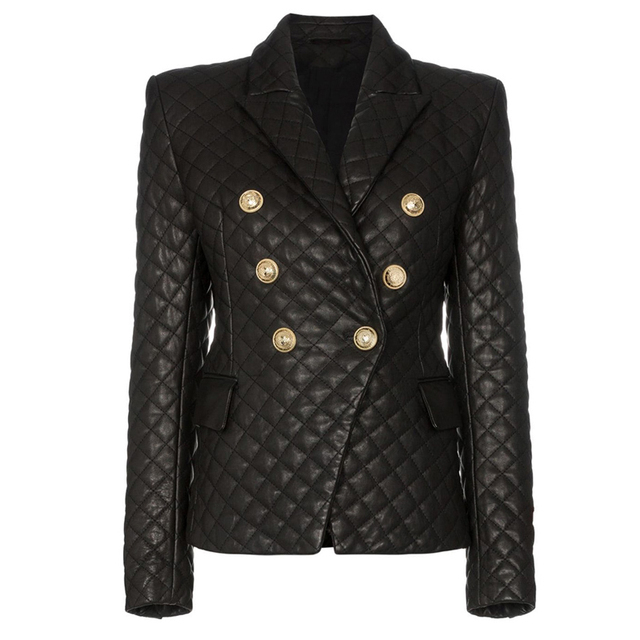 HIGH QUALITY 2020 New Stylish Designer Blazer Womens Lion Buttons Grid Cotton Padded Slim Fitting Synthetic Leather Jacket