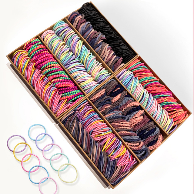 New 100PCS/Set Girls Candy Colors Nylon Elastic Rubber Band Fashion Hair Accessories 5
