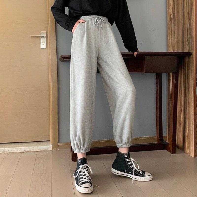 Women High Waist Drawstring Jogging Pants Plus Size Female New Fashion Solid Color Loose Harem Trousers Ladies Casual Pants