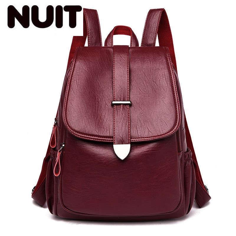 Women Leather Backpacks High Quality 2020 Sac A Dos Femme Rucksacks For Girls Vintage Bagpack Large Capacity Back Pack Mochilas