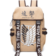 Free Shipping Anime Attack on Titan Backpack Wings of Liberty Student Bag Brown