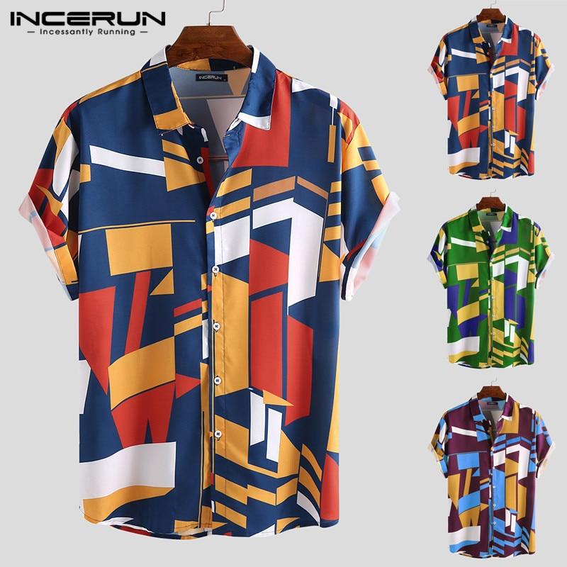 INCERUN Summer Men Hawaiian Shirt Geometric Print Short Sleeve Lapel Neck Button Casual Beach Shirts Men 2020 Streetwear S-5XL