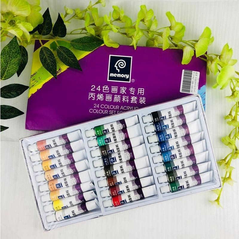 24 色 12 ミリリットル管アクリルペイントセット色ガラスアートの絵画ファブリック描画子供のためのツール DIY 耐水性