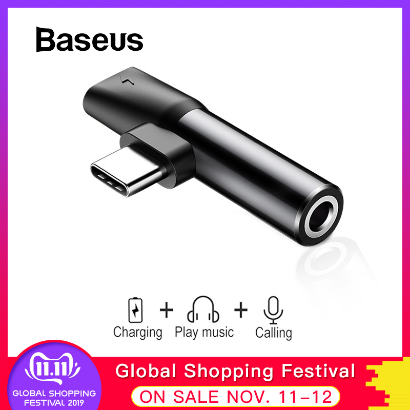 Baseus 2 In 1 USB Type C Converter To 3.5mm Aux Jack Adapter USB C Charging Extension Earphone Adapter For Xiaomi 8 Huawei P20