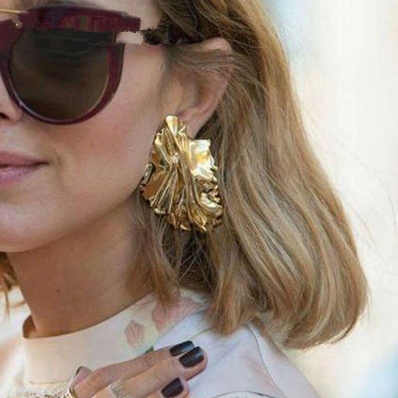 Drop Shipping Big Size Metal Tree Leaf Asymmetry Earrings For Women Stylish Lava Earring Friends Brinco Jewelry