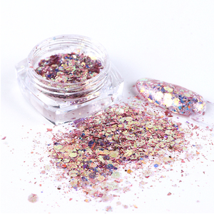 Image 2 - 8 kutu holografik parlak tırnak tozu karışımı altıgen Sparkly Nail Art gevreği Charm Glitter pul manikür dekorasyon seti LA1506 08