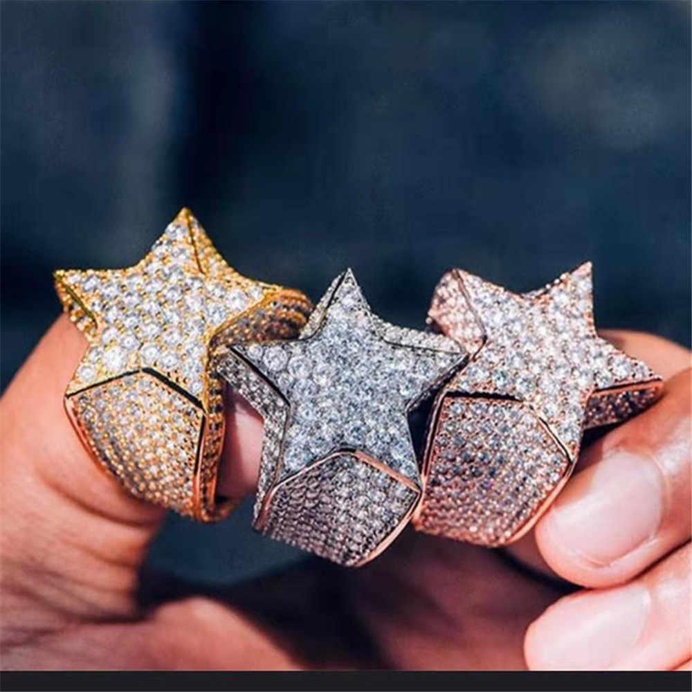 בציר חדש היפ הופ מלא קריסטל זירקון מיקרו-משובץ זירקון מחומש כוכב פנטגרם טבעת זכר תכשיטים