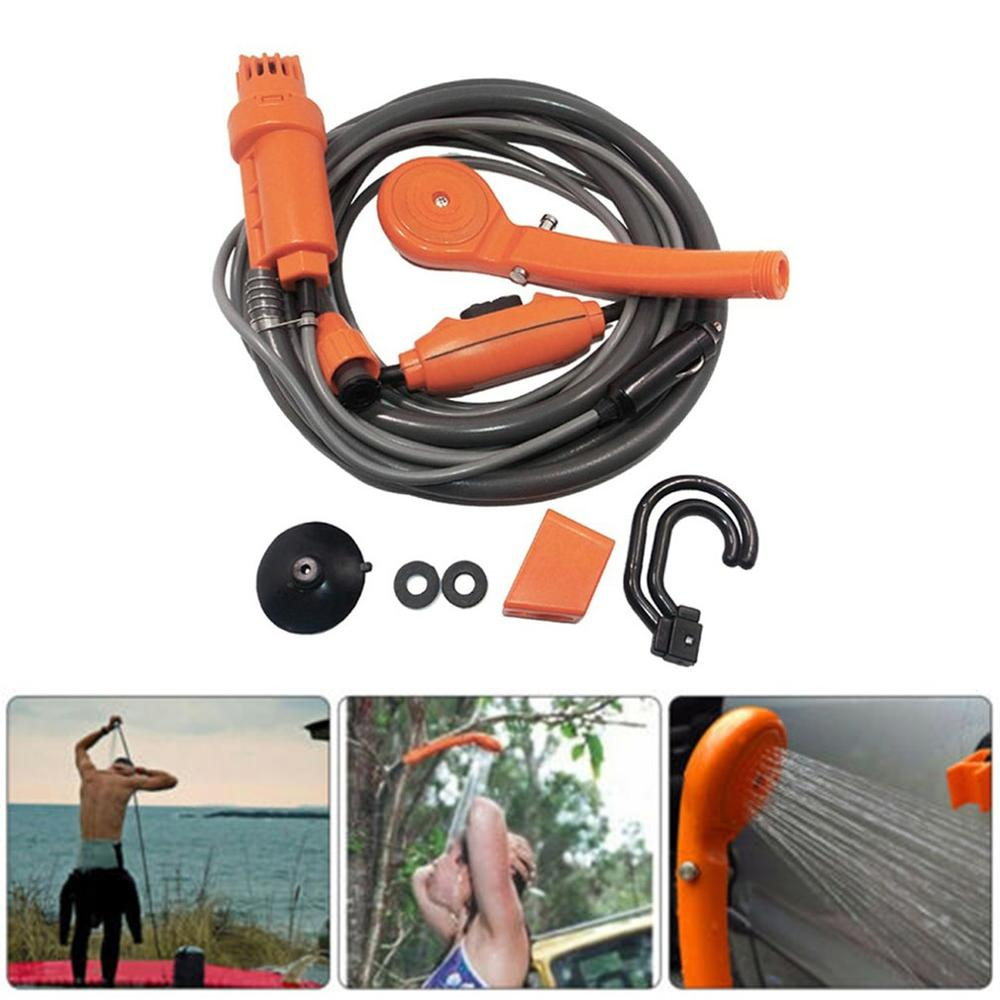 Details about  /Portable Outdoor Shower Head Camping Water Pump Hiking Travel Rechargeable US