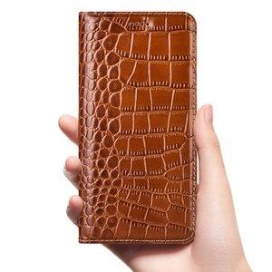 Image 1 - Luxo crocodilo genuíno caso de couro da aleta para apple iphone 11 pro max negócios telefone celular capa carteira