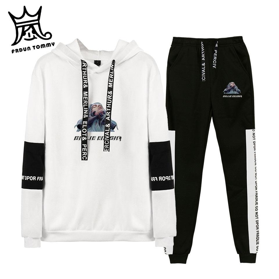FRDUN TOMMY 2019 Autumn/Winter Billie Eilish Hot Sale Hoodies Sweatshirts/Sweatpants Men Two Piece Set Hooded Suit Velvet 4XL
