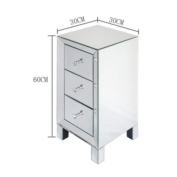 3 Drawer Mirrored Bedside Table 3