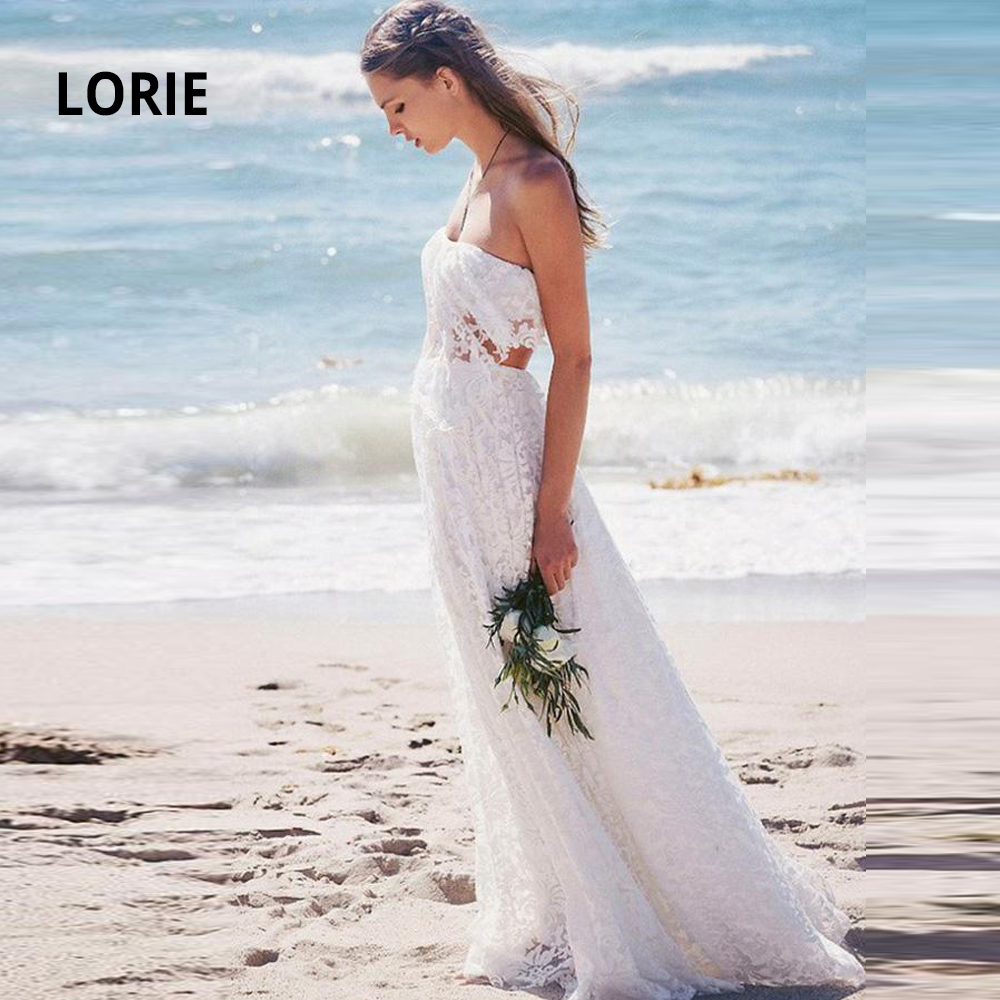 LORIE 2020 New Boho Wedding Gowns Full Elegant Lace Sleeveless Backless Sexy Beach Bride Dress No Train Cheap Simple