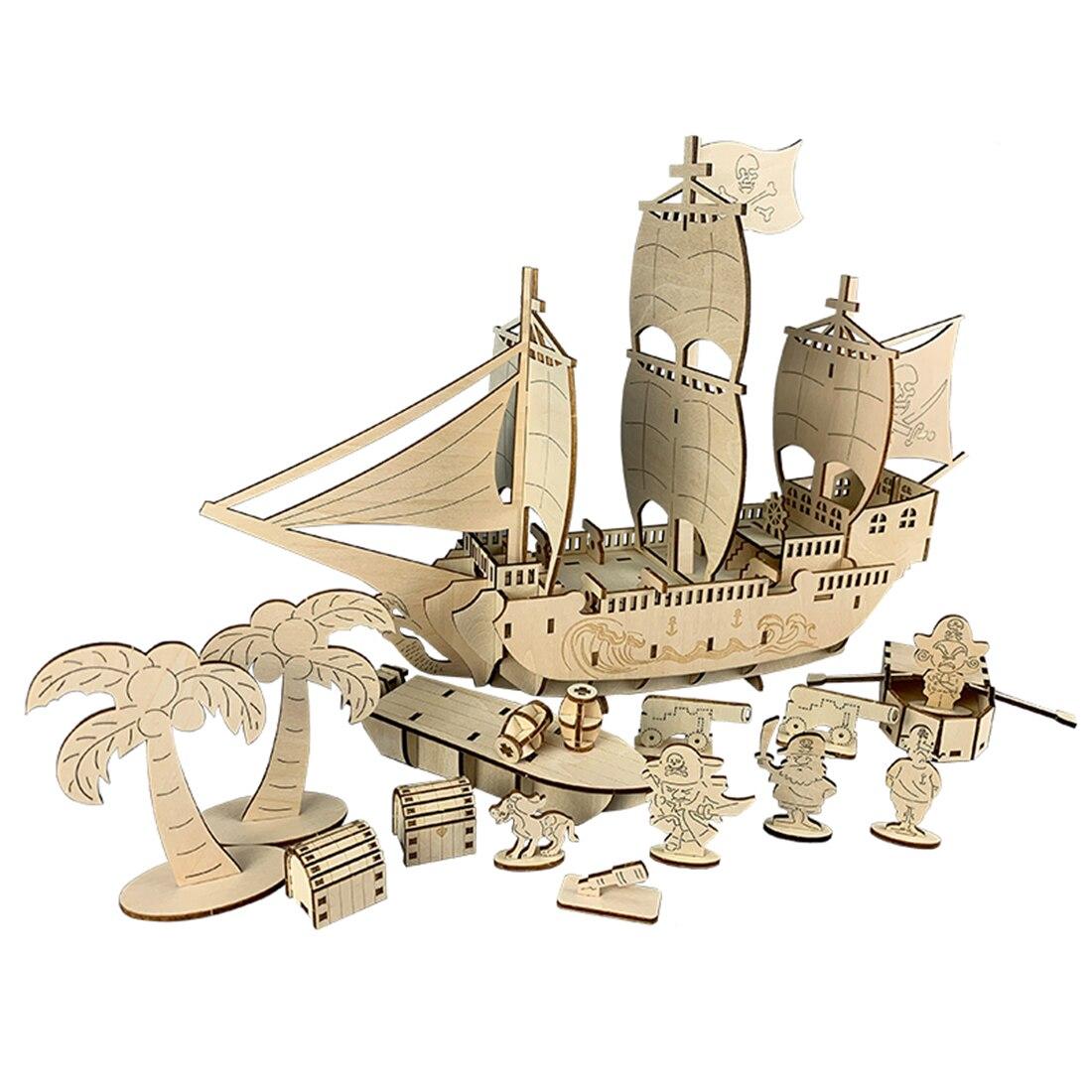 Hot 96 pièces 3D en bois Puzzle modèle jouet ornements bricolage assemblage cadeau jouet artisanat Kits bureau décoration pour enfants enfants-bateau Pirate