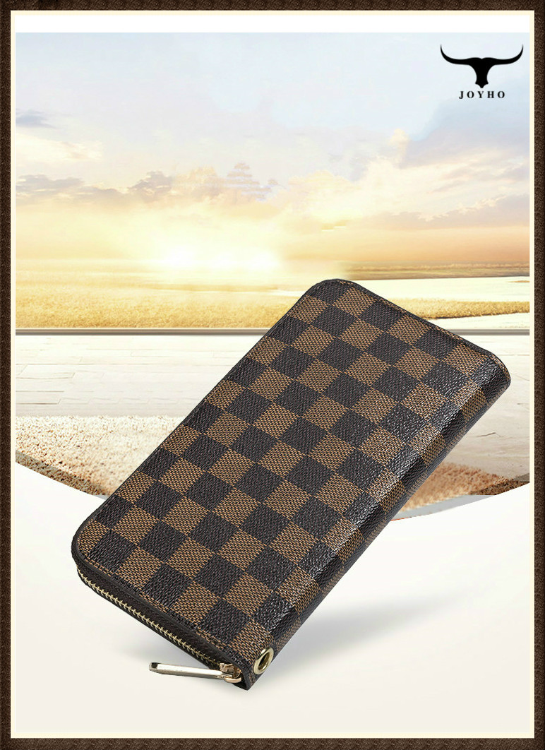 Plaid Men's Wallet Of PU Leather Clutch Bag Fashion Long Wallet Female Fashion Large Capacity Mobile Phone Bag HandBag For Women
