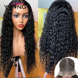 YYong 1x4& 1x6 T Part HD Transparent Lace Human Hair Wig Peruvian Water Wave Lace Part Wigs Natural Hairline Remy Hair 30 inch