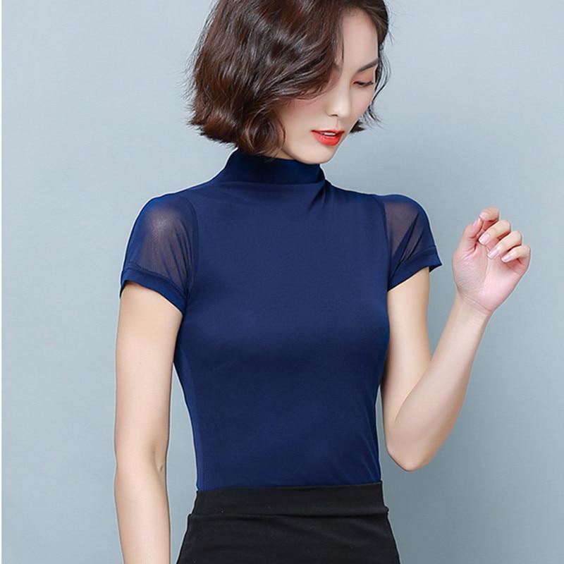 Korean Women Blouses Women Shirts Elegant Woman Mesh Blouse Stretch Shirt Plus Size Womens Tops and Blouses Short Sleeve Blouse