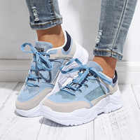 Women Spring Casual Sneakers Female Lace Up Mesh Dad Chunky Sneakers Woman Flat Platform Comfort Fashion Ladies Running Shoes