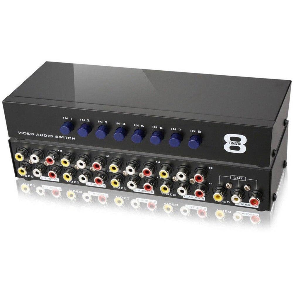 AV распределительной коробки композитный селектор 8 Порты и Разъёмы RCA аудио-видео 8 в 1 для ТВ Swithcer адаптер для DVD HD ТВ конвертер