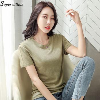 100% Cotton T Shirt Women Long Sleeve Tshirt Female 2020 Spring Autumn Ladies Tops Tee Shirt Femme Plus Size 3XL White Black G79 - short sleeve green, XL