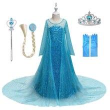 Vestido para meninas crianças vestido de natal halloween cosplay traje crianças festa de aniversário roupas princesa elsa anna trajes