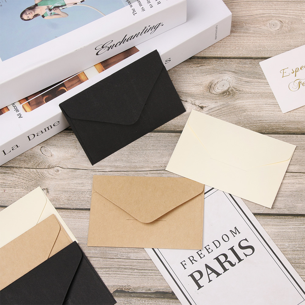 20 PCs Classical White Black Kraft Blank Mini Paper Window Envelopes Wedding Invitation Envelope Gift Envelope Office Supplies