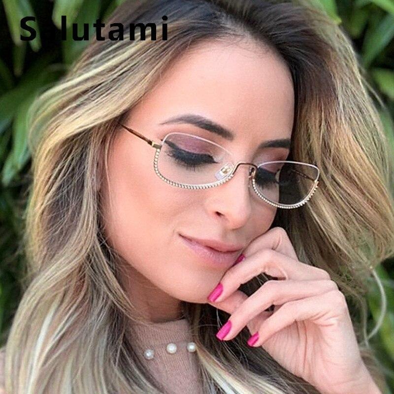 2019 Luxury Brand Women Clear Glasses Frame Rimless Crystal Eyewear Female Sexy Chic Alloy Cat Eyeglasses Ins Rhinestone Shades