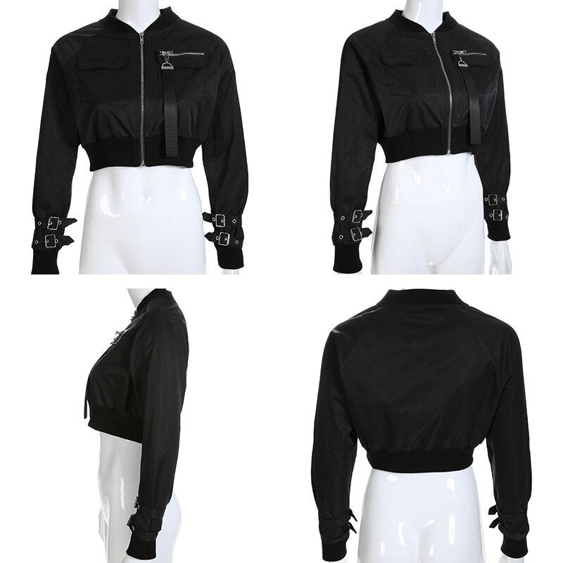Hf3088b103e09418492895218a32f7050M Waatfaak Outerwear Crop Bomber Jacket Women Patch Long Sleeve Autumn Jacket Female Pocket Pin Buckle Zipper Streetwear Jacket