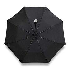 أسود مظلة واقية من الشمس سيارة هدايا الشركات يندبروف الرجال مظلة للمطر والشمس ثلاثة للطي التلقائي المظلات الذكور كبيرة