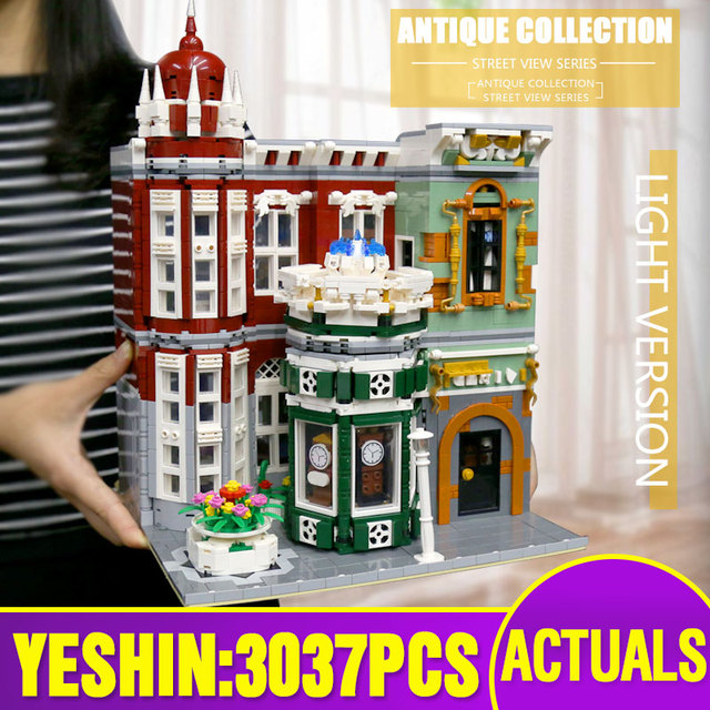 MOC 15008 Street View Building Toys Compatible With 10185 Green Grocer Led Light Model Building Blocks Kids Christmas Toys Gifts