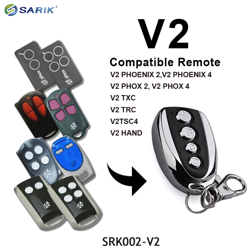 V2 PHOX 2 PHOENIX 2 TXC TSC 4 Rolling Code Remote Control Garage Remote Command 433.92MHz Transmitter