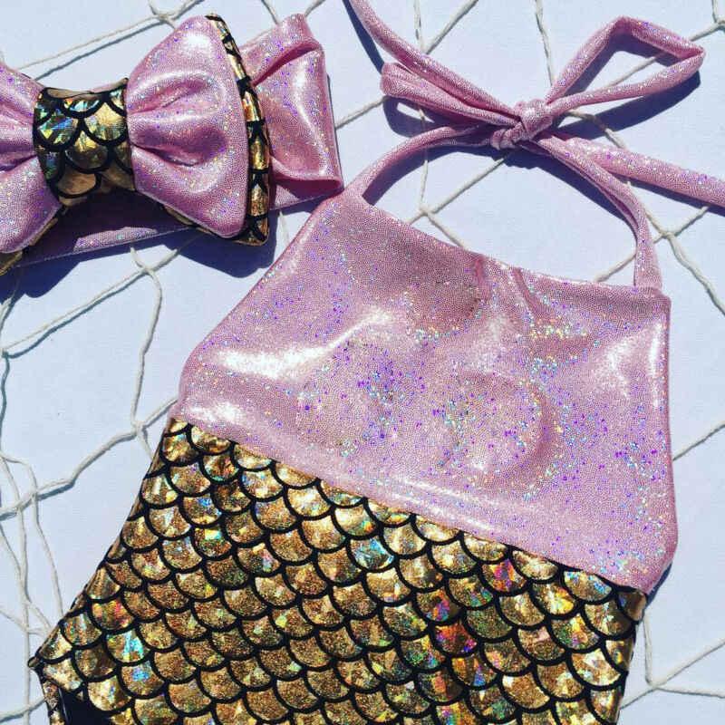 2PCS Set Bayi Perempuan Baju Renang Gadis Busur Simpul Tankini Anak-anak Bikini Tanpa Lengan Halter Baju Renang Baru Lahir Terusan