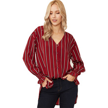 цены на Fashion Women Blouses Autumn Striped V-neck Long Sleeve Loose Shirt See Through Top Women Sexy Shirt Blusa Feminina Women Tops  в интернет-магазинах