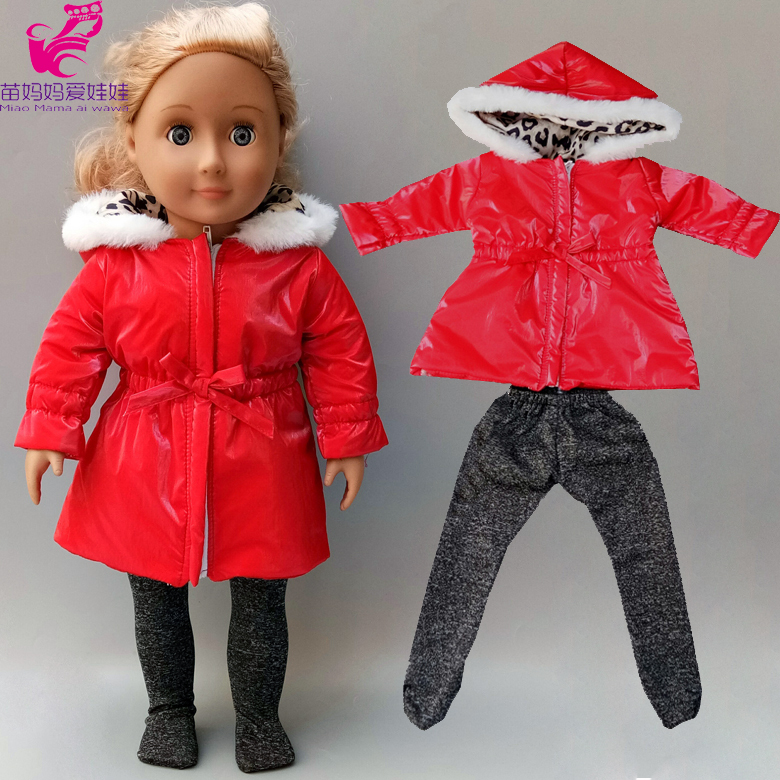 18 Inch Doll Clothes For Winter Red Down Coat Leopard Leggings For 43cm Baby New Born Doll Outfit For 18